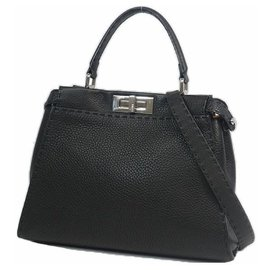 Fendi-PEEKABOO Selleria 2WAY Womens handbag 8BN290 black x silver hardware-Other