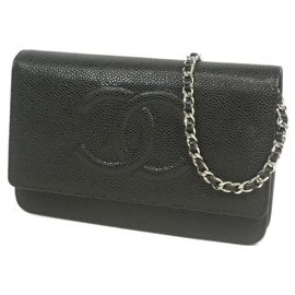 Chanel-chain Wallet chain shoulder�E� Womens long wallet black x silver hardware-Other