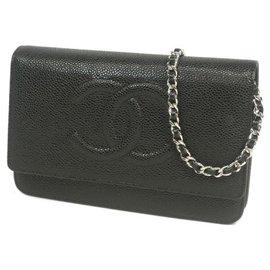 Chanel-Chain Wallet Chain Shoulder�E� Long portefeuille pour femme noir x matériel argent-Autre