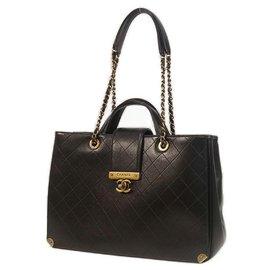 Chanel-Matelasse 2WAY chain tote Womens sac à main noir x matériel or-Autre
