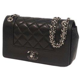 Chanel-matelasse W flap chain Womens sac à bandoulière black x silver hardware-Autre