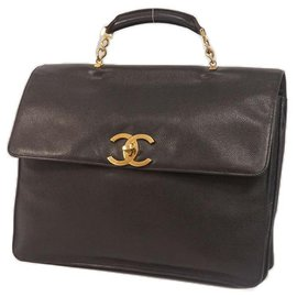 Chanel-coco mark briefcase business bag black x gold hardware-Other