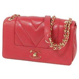 Chanel-W flap chain shoulder�E� V stitch shoulder bag magenta x gold hardware-Other