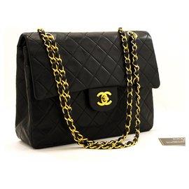 Chanel-Chanel 2.55 lined Flap Square Chain Shoulder Bag Black Lambskin-Black