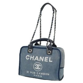 Chanel-Deauville 2WAY chain shoulder�E� Womens handbag A92750 blue x silver hardware-Other