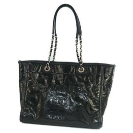 Chanel-Deauville large shopping bag tote bag A93257 black-Black