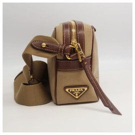 Prada-cross body ribbon Womens shoulder bag 1BH089 khaki x brown-Other