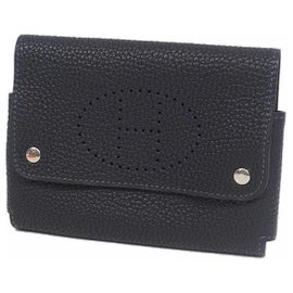 Hermès-HERMES Evelyn playing card case multi case pouch card case Navy-Navy blue