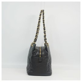 Chanel-CHANEL chain shoulder�E� coco mark Womens tote bag black x gold hardware-Other