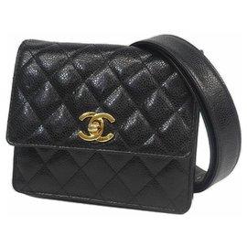 Chanel-matelasse Sac de taille noir x matériel or-Autre