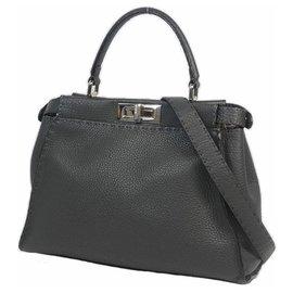 Fendi-PEEKABOO Selleria 2WAY Womens handbag 8BN290 gray x silver hardware-Other