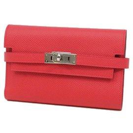 Hermès-Portefeuille Kelly Porte Valeurs Medium Femme Tri-Fold Rose-Autre