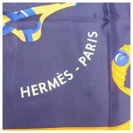 Hermès-Carré140 Carré Géant TOUT EN CARRE All in Square Echarpe femme bleu-Bleu
