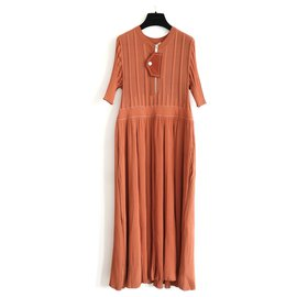 Céline-SS16 Terracotta Knit Midi Dress-Cognac