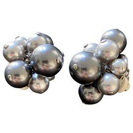 Céline-Boucles d'oreilles à perles Celine-Argenté,Gris