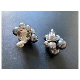 Céline-Celine pearl earrings-Silvery,Grey