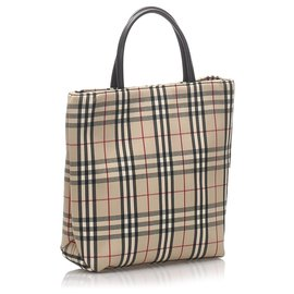 Burberry-Burberry Brown House Check Tote Bag-Brown,Multiple colors,Beige