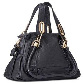 Chloé-Chloe Black Paraty Leather Satchel-Black