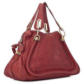 Chloé-Chloe Red Medium Paraty Leather Satchel-Red