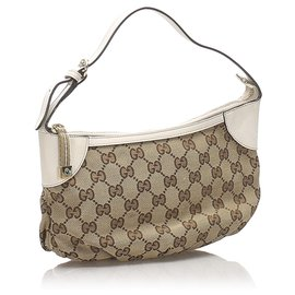 Gucci-Baguette en toile Gucci Brown GG-Marron,Blanc,Beige
