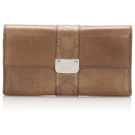 Gucci-Portefeuille continental en cuir marron Gucci-Marron