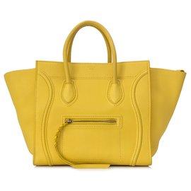 Céline-Sac cabas Celine en cuir jaune Phantom Luggage-Jaune
