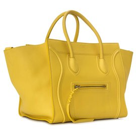 Céline-Celine Yellow Phantom Luggage Leather Tote-Yellow