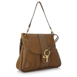 Chloé-Chloe Brown Large Lexa Leather Shoulder Bag-Brown