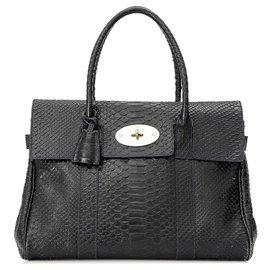 Mulberry-Mulberry Black Embossed Leather Bayswater Handbag-Black