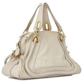 Chloé-Chloe White Medium Paraty Leather Satchel-White,Cream