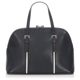 Burberry-Burberry Black Leather Handbag-Black,White