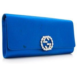 Gucci-Pochette Gucci Bleu GG Satin-Bleu