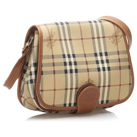 Burberry-Burberry Brown Haymarket Check Crossbody Bag-Brown,Multiple colors,Beige