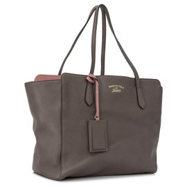 Gucci-Sac cabas en cuir marron Gucci-Marron