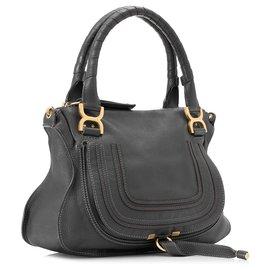 Chloé-Chloe Gray Leather Marcie Handbag-Other,Grey