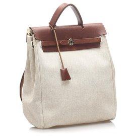 Hermès-Hermes White Canvas Herbag MM Satchel-Brown,White