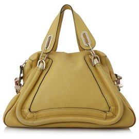 Chloé-Chloe Yellow Medium Paraty Leather Satchel-Yellow