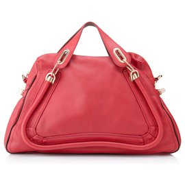 Chloé-Chloe Red Large Paraty Leather Satchel-Red