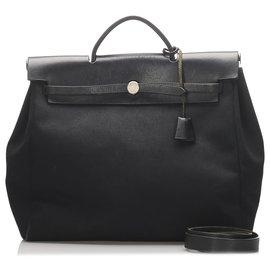 Hermès-Hermès toile noire MM sac cartable-Noir