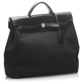 Hermès-Hermes Black Canvas Herbag MM Satchel-Black