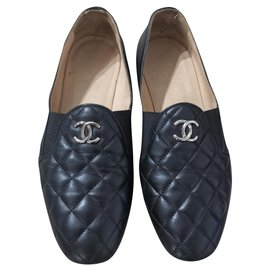 Chanel-Chanel black quilted loafers shoes EU 36.5-Black