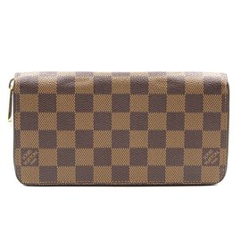 Louis Vuitton-Louis Vuitton Damier Ebene Long Zip Around Organizer Wallet-Brown