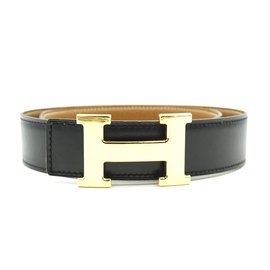 Louis Vuitton-Hermes 32mm Classic H Reversible Leather Belt Size 65-Black