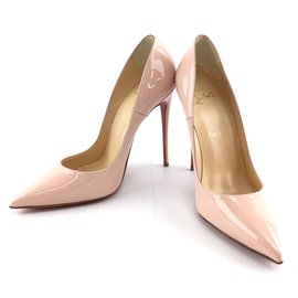Christian Louboutin-Christian Louboutin Beige So Kate 120 Patent Pigalle Follies Patent Leather Pumps-Beige