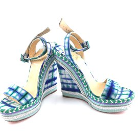 Christian Louboutin-Christian Louboutin Multicolor Espadrille Knotted Duplice 140 Bazin Sandals Wedges-Multiple colors