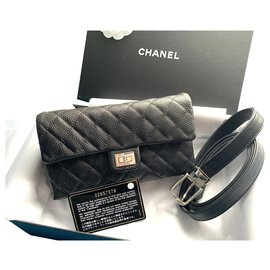 Chanel-Chanel uniform 2.55 bum belt bag-Black