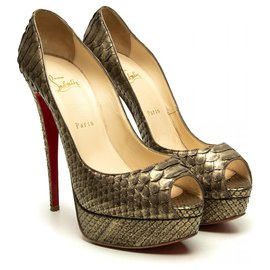 Christian Louboutin-python Lady Peep heels-Golden