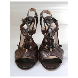 Jimmy Choo-Evita Lizard Skin Heeled Sandals-Brown