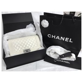 Chanel-Limited Medium Boy Bag with Galuchat strap-White,Cream