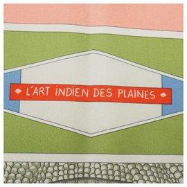 Hermès-Hermès Carre90 L'ART INDIEN DES PLAINES Meadow Indian art Womens scarf pink-Pink